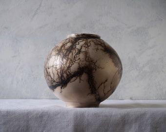 Handmade Raku Vessel, Iridescent Raku Arts, Horse Hair Firing, Unique Ceramic, One of The Kind