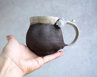 Handmade Ceramic Mug, Wood Textured Mug, African Quartz Crustal, Wheel Thrown Mug, Dark Brown White Ceramics, Pottery Gift, 10 oz