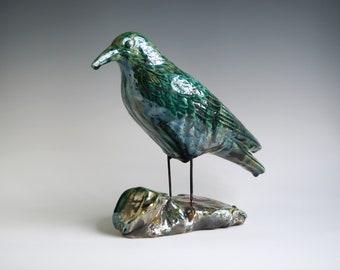 Handmade Raku Crow, Ceramic Bird Totem, Home Decor, Crackled Rustic Raku, Unique Housewarming Gift, Porcelain, Contemporary Art