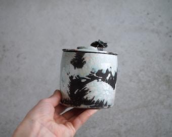 Handmade Raku Jar, Unique Raku Ceramics, Mushrooms Lid Handle, Art Object, Raku Glaze, Lidded Canister, Secret Jar, Porcelain Art, Gift