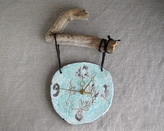Handmade Raku Clock, Ceramic Clock, Wooden Hanging Clock, Tutty-Frutty Glaze , Cracked Raku Technique, Wall Hanging Home Decor, Rustic Gift