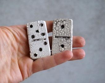 Handmade Ceramic Domino Game Set with Wooden Carry Case, Raku Game, Raku Dominoes, Home Decor Pottery Gift