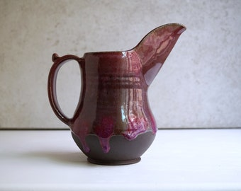 Handmade Ceramic Pitcher, Copper Red Glaze, Drips of Glaze, Wheel Thrown Pottery, Red Ceramics, Housewarming gift, Unique Holiday Gift