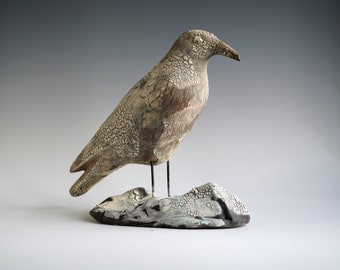 Handmade Raku Crow, Ceramic Bird Totem, Home Decor, Crackled Rustic Raku, Unique Housewarming Gift, Porcelain, Contemporary Art