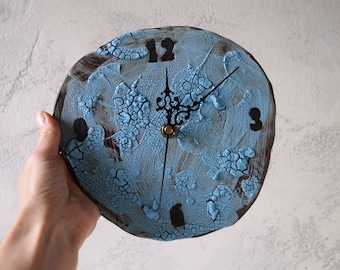 Handmade Ceramic Clock, Wall Hanging Clock, Home Decor, Nature Inspired Ceramic Art, Unique Holiday Gift