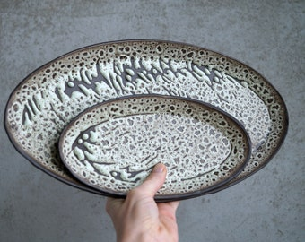 Handmade Ceramic Serving Trays Set, Oval Shape Tableware, Unique Crater Glaze, Charcoal Black Porcelain, European Style Dish, Gift for Her