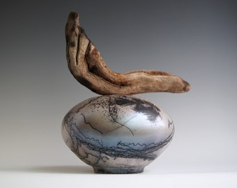 Handmade Raku Vessel, Iridescent Raku Arts, Horse Hair Firing, Wooden Handle Jar, Unique Ceramic, One of The Kind Object, Gallery Art Piece