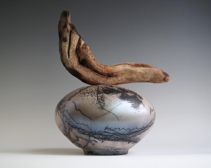 Featured listing image: Handmade Raku Vessel, Iridescent Raku Arts, Horse Hair Firing, Wooden Handle Jar, Unique Ceramic, One of The Kind Object, Gallery Art Piece