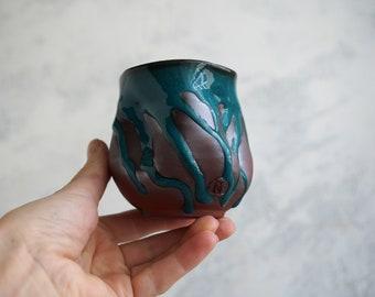Handmade Ceramic Cup, Vine Cup, 8 oz, Unique Turquoise Glaze, Tea Bowl, Chawan, Porcelain, Ceramic Art, Tea Ceremony Gift #2