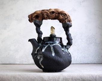 Handmade Ceramic Teapot, Smoky Quartz Crystal, Wooden Handle, Bark Wood Texture, 32 oz, Exclusive Pottery, Nature Inspired Arts