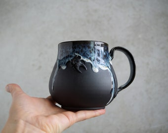 "Handmade Ceramic Mug, ""Seafoam Whisper"" Mug, 20 oz, Beetle Large Size Mug, Unglazed Black Clay, Drips of Glaze, Nature Inspired Ceramics"
