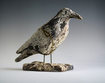 Handmade Raku Crow, Kintsugi, Ceramic Bird Totem, Home Decor, Crackled Rustic Raku, Unique Housewarming Gift, Porcelain, Contemporary Art