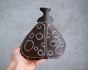 Handmade Beetle Vase, Black Raw Clay, Unique Whimsical Gift, Housewarming Piece, Ceramics Art Home Decor,