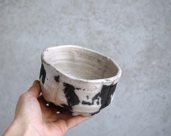 Handmade Raku Bowl, Porcelain Art, Unique Raku Ceramics, One of The Kind Art Object, White Crackle Glaze, Tea Bowl, Tea Ceremony Gift