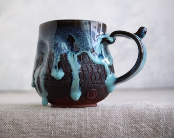 Handmade Ceramic Mug, 12 oz, Bark Texture, Unglazed Terracotta Clay, Drips of Glaze, One of the Kind Piece