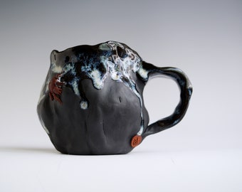 Handmade Ceramic Mug, Drips of Glaze, Beetle mini Sculpture, 10 oz, Black Clay Porcelain, Nature Inspired Ceramics, Pottery Gift Him Her #5