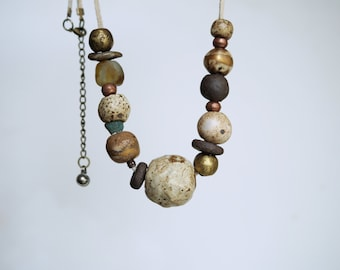 Handmade Ceramic Necklace, Earthy Necklace Beads, 22K Gold Luster, Ancient and Handcrafted Ghana Glass, Rustic Style Necklace, Gift for Her