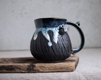 Handmade Ceramic Mug, Bark Textured Mug, 14 oz, Beetle, Real Quartz Crystal, Unglazed Black Clay, Drips of Glaze, Black Sea Theme Ceramics