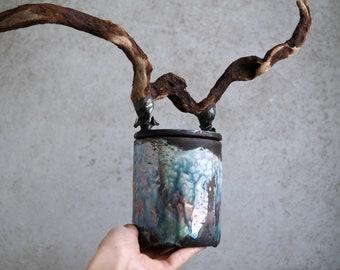 Handmade Raku Vessel, Unique Raku Ceramics, One of The Kind Art Object, Crackle Raku Glaze, Canister Wood Handle Lid, Porcelain Arts, Gift