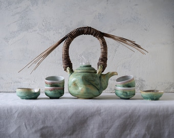 Handmade Ceramic Tea Ceremony Set, Seven Pieces, Exclusive Patina Green Glaze, Cups, Woven Reed Teapot, Nature Inspired Pottery, 20 oz