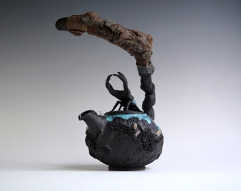 Handmade Ceramic Teapot, Fern Texture, Quartz Crystal, Beetle Sculpture, Wood Handle, 20 oz, Exclusive Pottery, Nature Inspired Arts