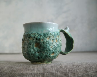 Handmade Ceramic Mug, Green Lava Craters Texture, 8 oz, Ceramic Arts,  Pottery Gift, One of the Kind Piece