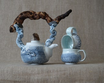 Handmade Ceramic Tea Ceremony Set of Three Pieces, Wooden Handle, Porcelain, Exclusive Rustic Design, Nature Inspired Pottery, 18 oz