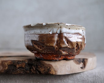 Handmade Ceramic Chawan, Shino Chawan, 6 oz, Unique Shino Glaze, Tea Bowl, High Fired Ceramics, Ceramic Art, Tea Ceremony Gift