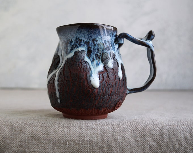 Featured listing image: Handmade Ceramic Mug, 16 oz, Bark Texture, Unglazed Terracotta Clay, Drips of Glaze, One of the Kind Piece
