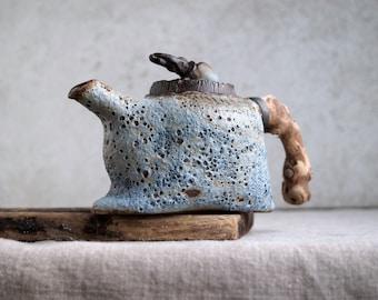 Handmade Ceramic Teapot, Volcanic Texture, Wooden Handle, Exclusive Pottery, 12 oz, Unique Tea Ceremony, Nature Inspired Art Piece