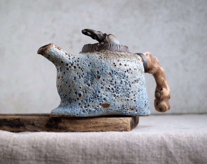 Featured listing image: Handmade Ceramic Teapot, Volcanic Texture, Wooden Handle, Exclusive Pottery, 12 oz, Unique Tea Ceremony, Nature Inspired Art Piece