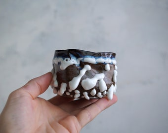 Handmade Ceramic Cup, Vine Cup, Perfect Gift for Coffee or Tea Lover, Beads Texture, 10 oz, Ceramic Arts, One of the Kind Piece