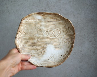 Handmade Ceramic Plate, Food Photography Prop, Serving  Plate, Decorative Pottery, Wood Texture Dish, Rustic Glaze, Unique Pottery