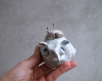 Handmade Pincushion, Ceramic Unique Whimsical Sculpture, Housewarming Piece, Rustic Color, Wool Felting Cushion, Sewing Gift Idea.