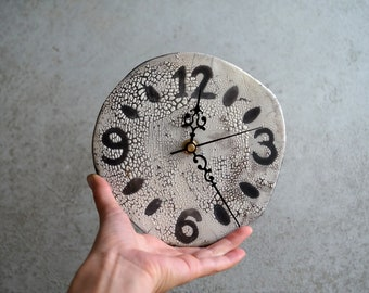 Handmade Ceramic Clock, Raku Firing Clock, Wall/Hanging Clock, Rustic Clock, Wall Clock, Home decor Gift, Raku Clock, Unique Fun Gift