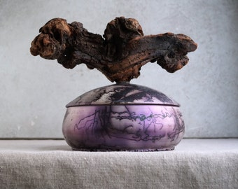 Handmade Raku Vessel, Iridescent Raku Arts, Horse Hair Firing, Wooden Handle Jar, Unique Ceramic, One of The Kind Object, Gallery Art Piece