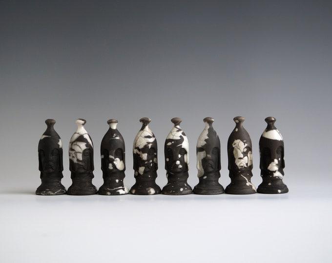 "Featured listing image: Handmade Raku Chess Set, NO BOARD, Raku Arts, Complete with 32 Pieces 3"" and 4"", One of The Kind Art Object, Crackle Raku Glaze, Great Gift"