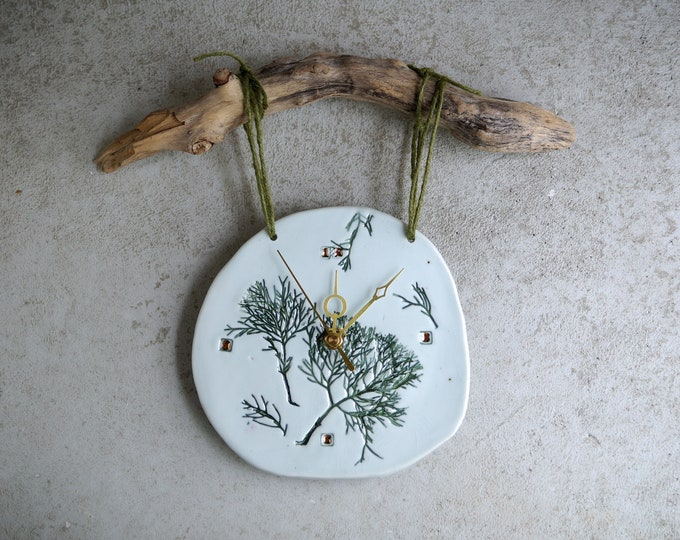 Featured listing image: Handmade Ceramic Clock, 22K Gold Luster Clock, Green Imprint, Wood Wall Hanging Clock, Nature Inspired Ceramic Arts, Home Decor, Unique Gift