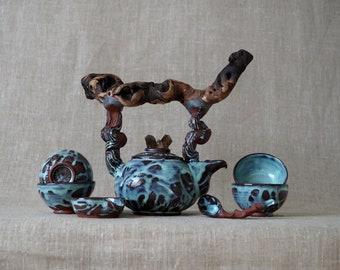 Handmade Ceramic Teapot Set, Tea Ceremony, Seven Pieces, Drippy Glaze, Wood Handle, Smoky Quartz, Nature Inspired Pottery, 16oz