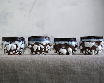 Handmade Set of Four Cups, Ceramic Tea Cups, 2 oz, Shot Cup, Beads Texture, One of the Kind Ceramic Arts