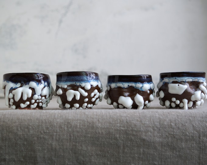 Featured listing image: Handmade Set of Four Cups, Ceramic Tea Cups, 2 oz, Shot Cup, Beads Texture, One of the Kind Ceramic Arts