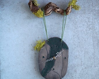 Handmade Ceramic Clock, Wall/Hanging Clock, Rustic Moss Clock, Wall Clock with Wooden Branch, Housewarming Pottery Gift
