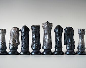 "Handmade Raku Chess Set, NO BOARD, Horse Hair Firing, Raku Arts, Complete with 32 Pieces 3"" and 4"", One of a Kind Art Object"