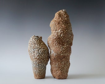 Handmade Tall Vessel Set of Two, Volcanic Lace Glaze, Unique Ceramic Vase, Home Decor, White Ceramics, One of a Kind Piece