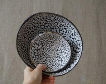 Handmade Ceramic Set of 2 Bowls, White Serving Dishes, Dry Black Sea Glaze, Beautiful Organic Shape, Nature Inspired Ceramic Art #4