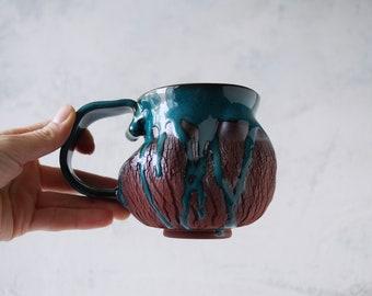 Handmade Ceramic Mug, 12oz, Bark Texture, Turquoise Glaze, Unglazed Dark Brown Clay, Drips of Glaze, One of the Kind Piece
