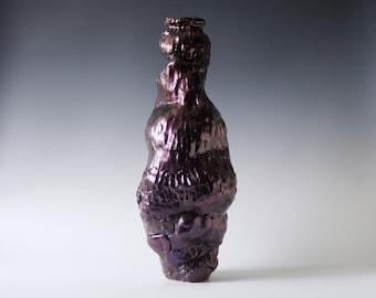 Handmade Raku Vessel, Iridescent Raku Arts, Horse Hair Firing, Unique Ceramic, One of a Kind Piece