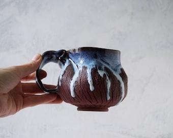 Handmade Ceramic Mug, 12oz, Bark Texture, Beetle Sculpture Miniature, Unglazed Dark Brown Clay, Drips of Glaze, One of the Kind Piece