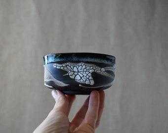 Handmade Ceramic Matcha Bowl, 8 oz, Chawan, Tea Cup, Unique Crackle Glaze, Porcelain, Ceramic Art, Tea Ceremony Gift #1