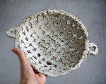 Handmade Ceramic Bowl, Wicker Fruit Bowl, Speckle White Glaze, Beautiful Organic Shape, Nature Inspired Ceramic Art